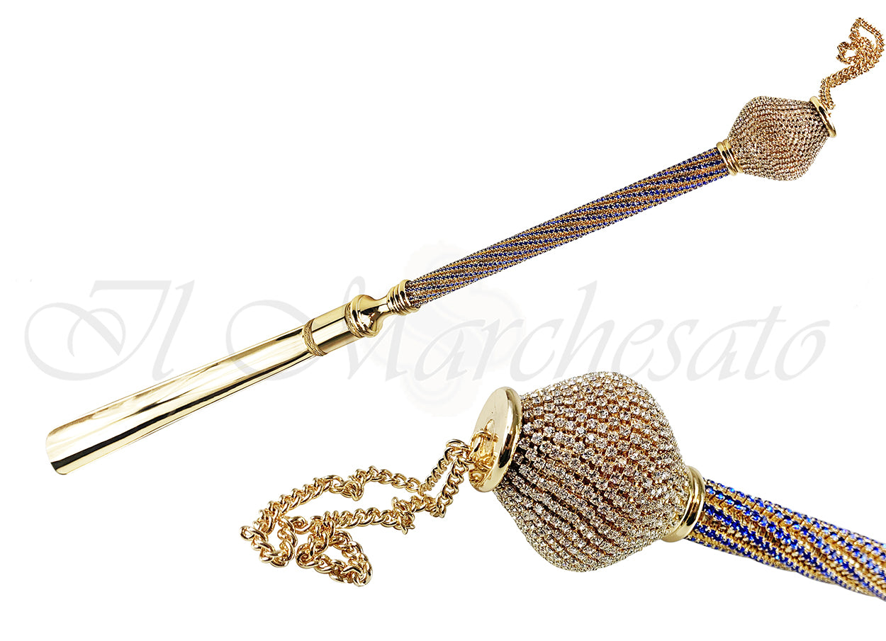 24K Gold Plated Shoehorn with Sapphire crystals
