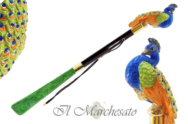 PEACOCK SHOEHORN ENAMELED BY HAND