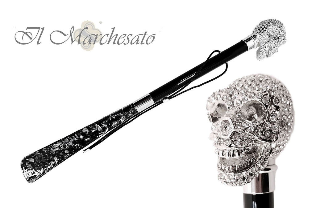 Il Marchesato Lux Silver Skull Shoehorn Enchired with Swarovski Cristals - il-marchesato