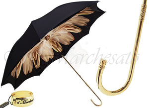 Brown Dahlia Umbrella With Black Exterior, Double Cloth - il-marchesato