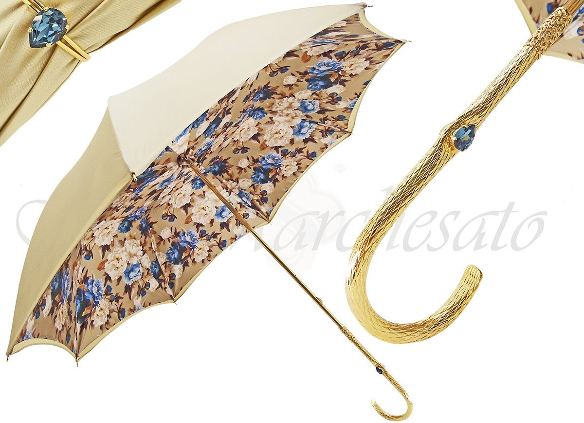 il Marchesato Ladies Flower Umbrella in Cream with Light Blue Flower - il-marchesato