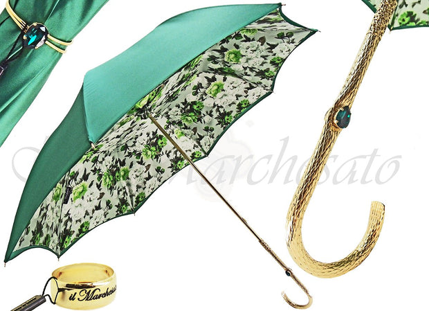 ITALIAN HANDMADE LUXURY FLOWERED GREEN DOUBLE CLOTH UMBRELLA
