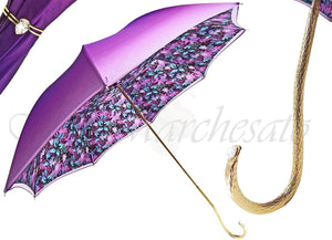 il Marchesato Ladies Flower Umbrella in Violet with Turquoise Flower - il-marchesato