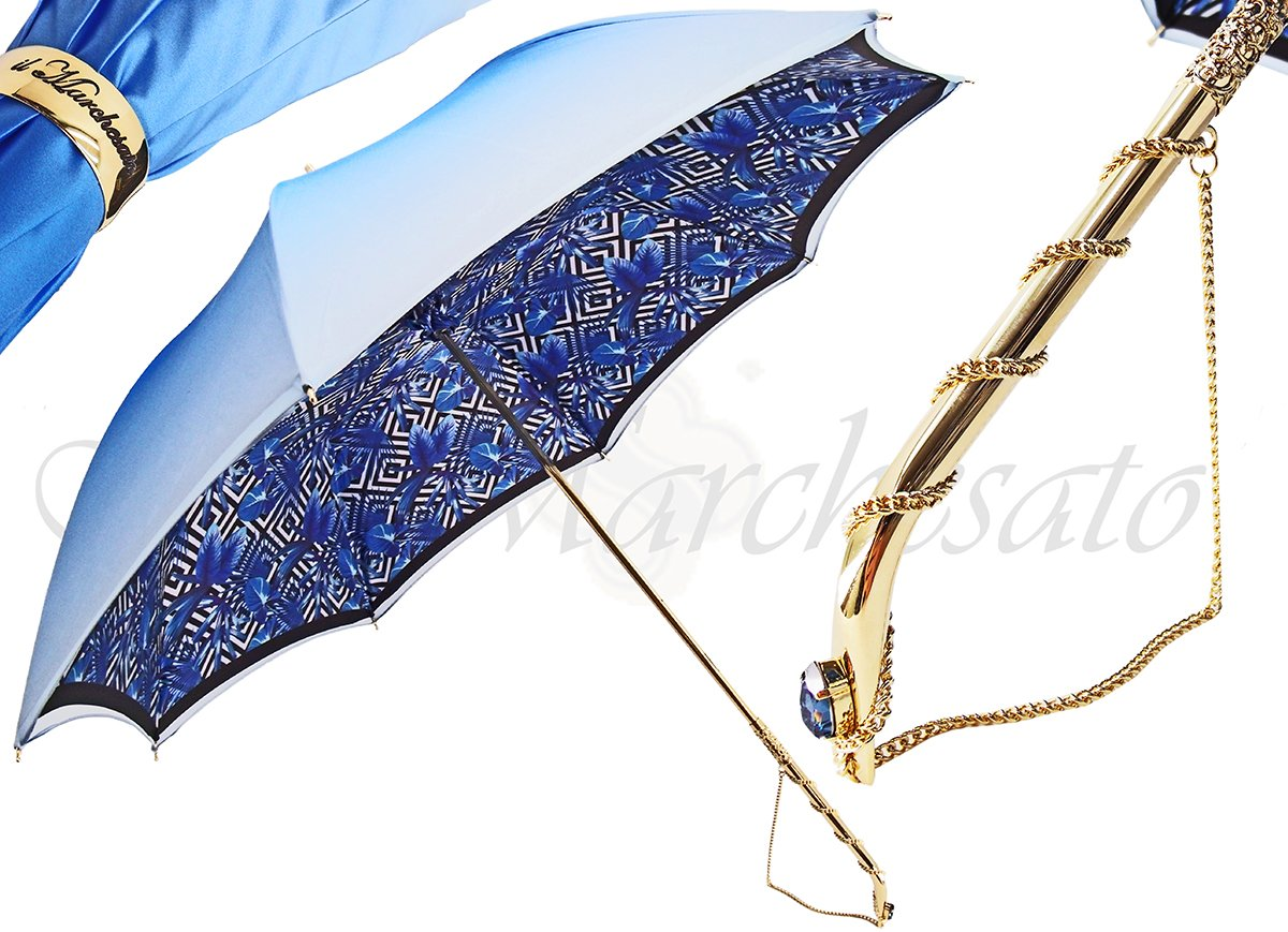 Luxury Double Canopy Sky-Blue Umbrella - il-marchesato