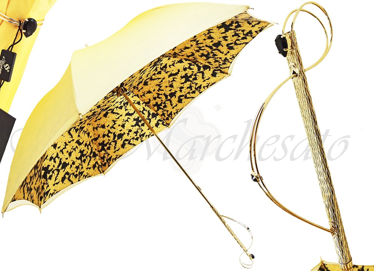 LADIES GOLD FASHION UMBRELLA DOUBLE CLOTH
