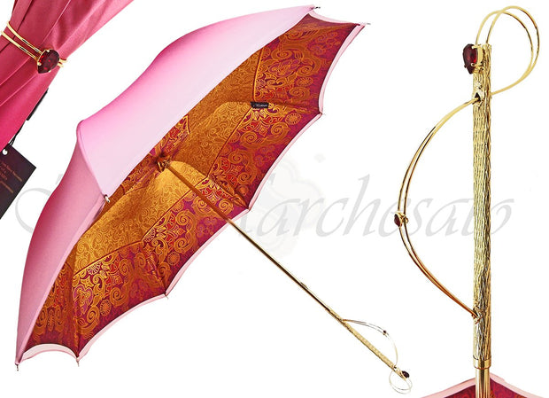 handmade luxury fuchsia double canopy umbrella