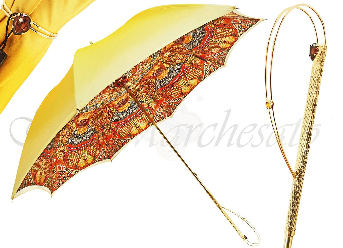 il Marchesato Luxury Gradient Yellow Umbrella, Double Cloth - il-marchesato