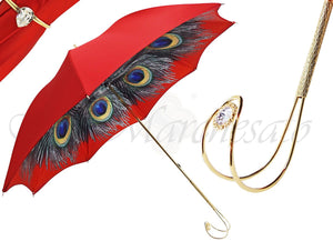 Beautiful Red  Women's Umbrella with Printed Peacock Design - il-marchesato