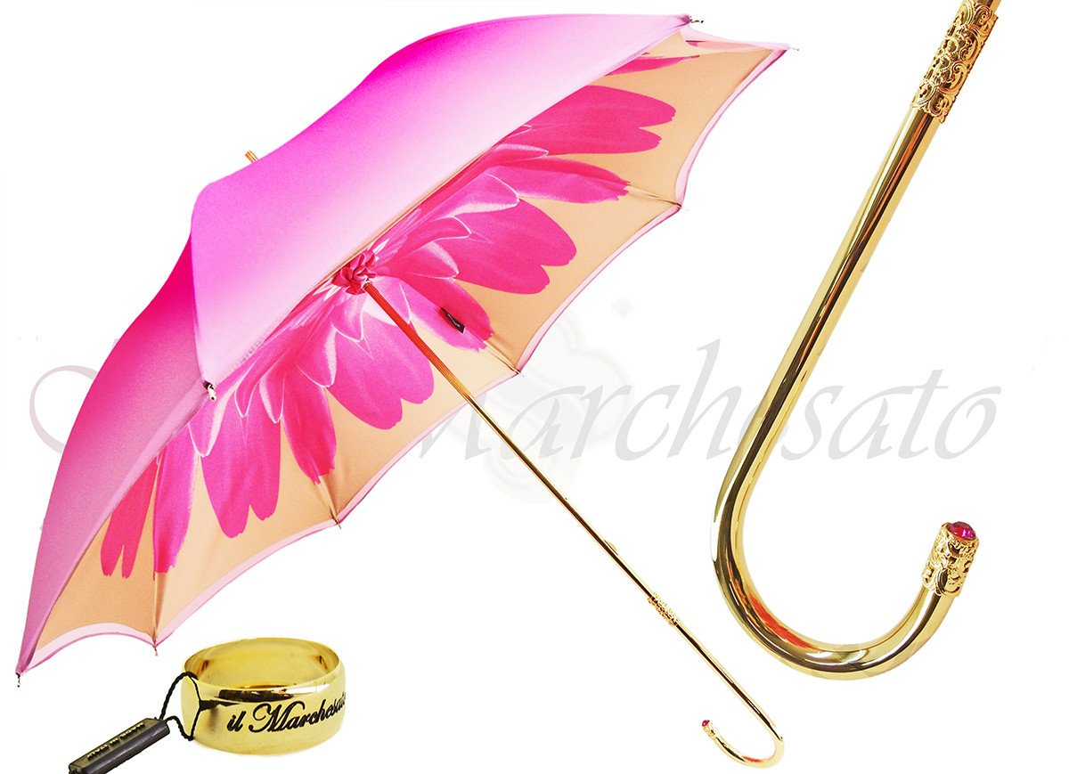 Pink Dahlia Double Canopy - Luxury Ladies Umbrella - il-marchesato