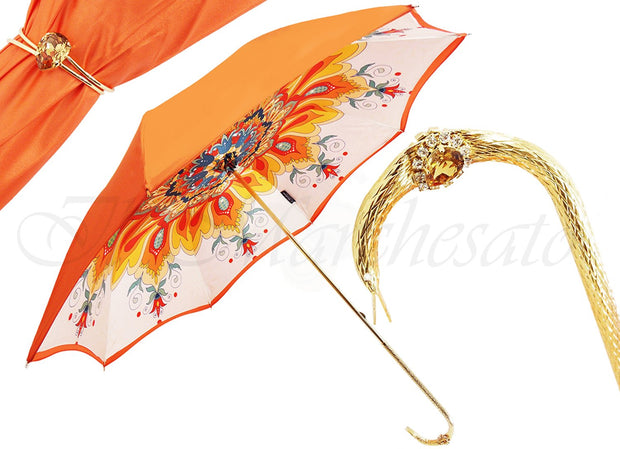 LUXURY HANDMADE ORANGE WOMEN UMBRELLA