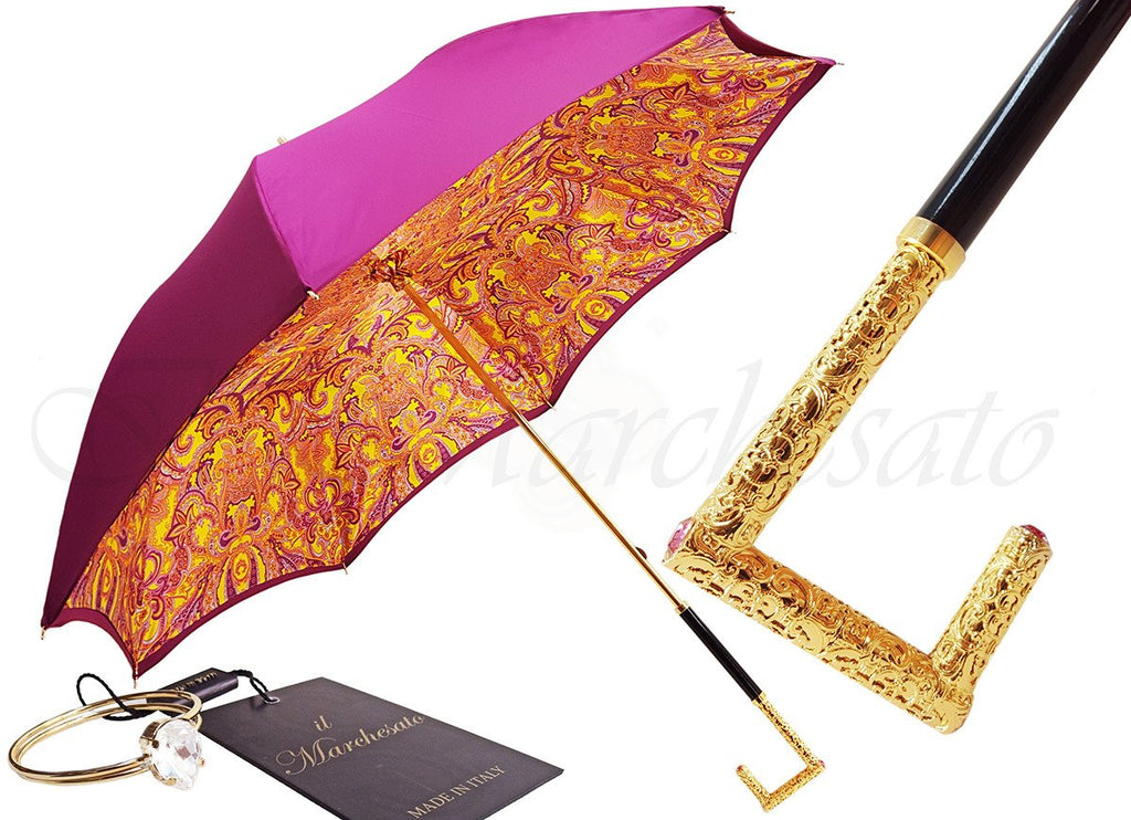 Luxury Double Canopy Fuchsia Umbrella - il-marchesato