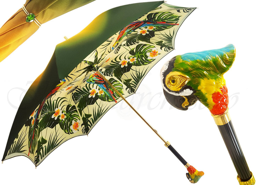 il Marchesato Luxury Parrot Umbrella, Double Cloth - il-marchesato