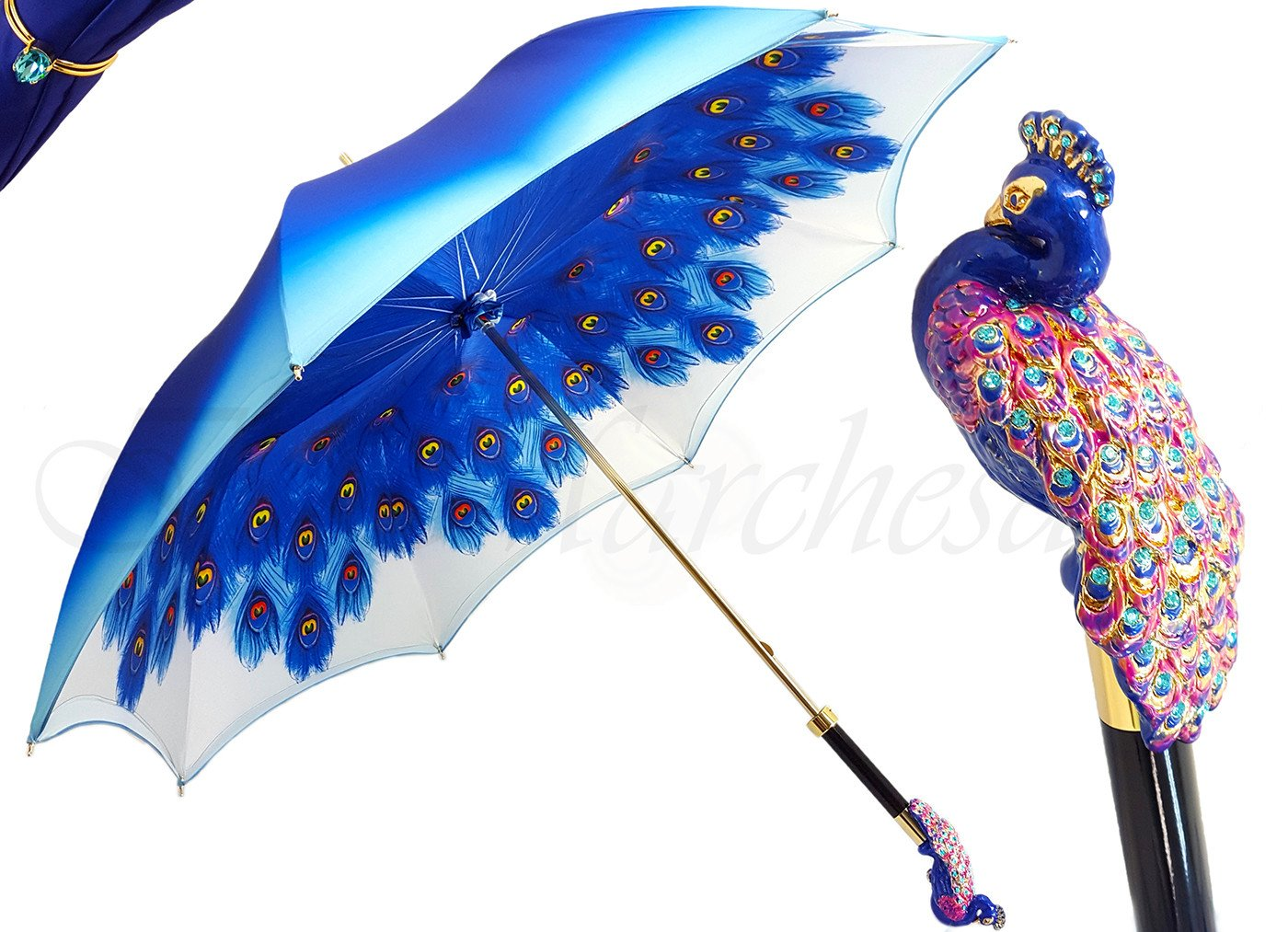 il Marchesato Blue Peacock Umbrella - il-marchesato