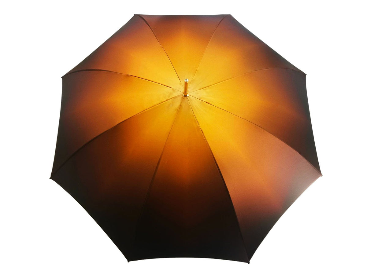 Beautiful Double Canopy Umbrella in a Luxurious Brown Colored Satin Polyester Fabric - il-marchesato