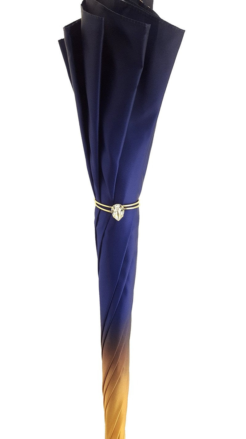 Superb Double Canopy Umbrella Finished in a Luxurious Blue Satin Polyester Fabric - il-marchesato