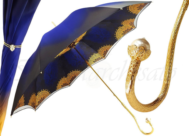Superb Double Canopy Umbrella Finished in a Luxurious Blue Satin Polyester Fabric