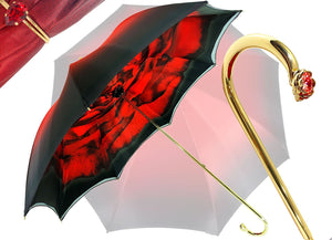 Wonderfull red Umbrella With Rose Design - il-marchesato