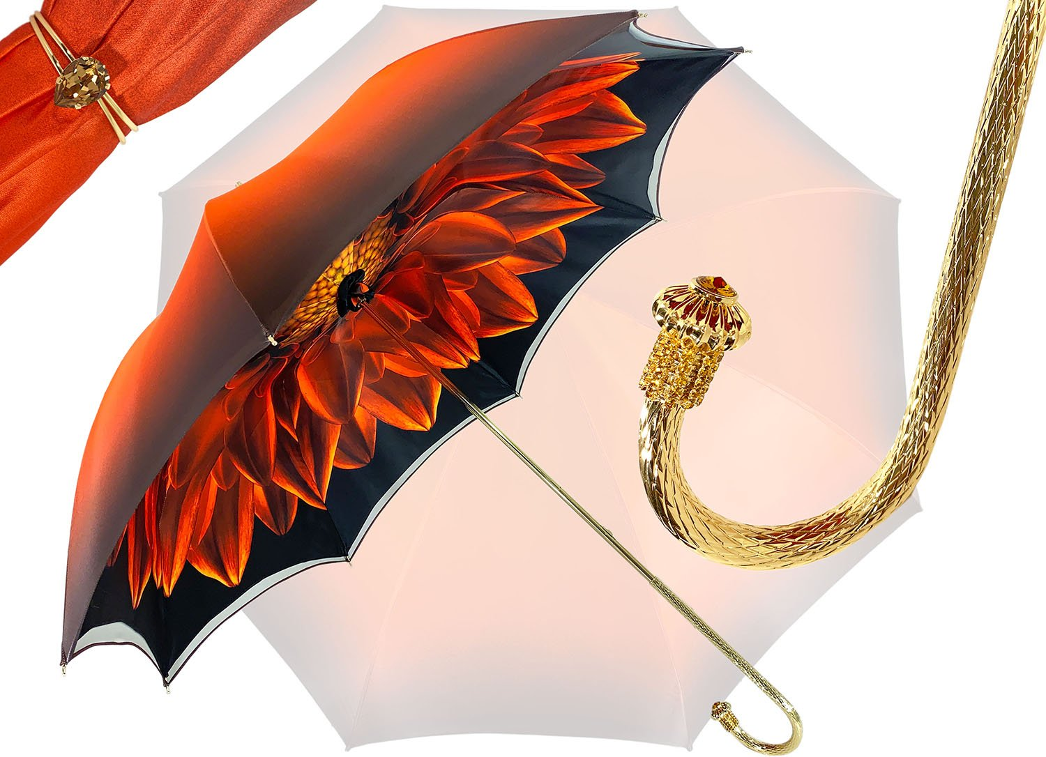 Beautiful Double Canopy Umbrella in a Luxurious Orange Satin - il-marchesato