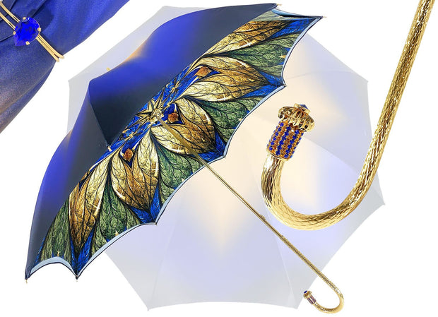 Luxurious Blue Umbrella, Double Cloth - Abstract Design - il-marchesato