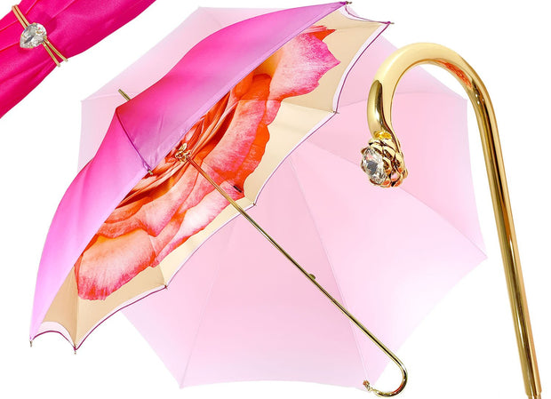 Pink Umbrella With Rose Design - il-marchesato