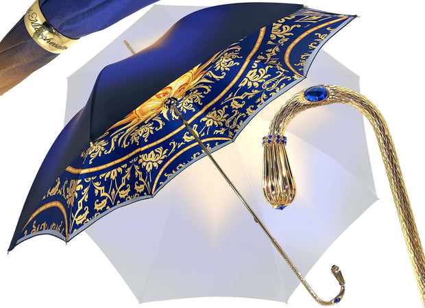 LUXURY DOUBLE CLOTH BLUE UMBRELLA