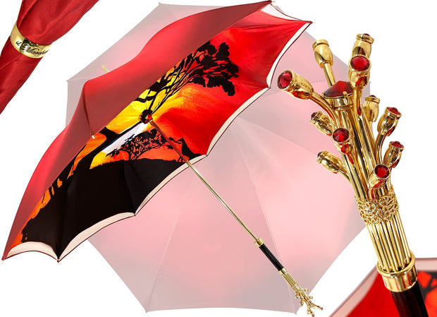Handmade Double Cloth Umbrella Exclusive Savannah Design - il-marchesato