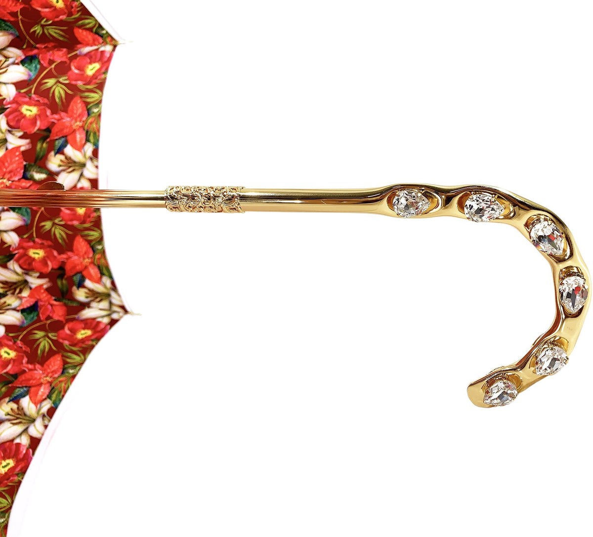 il Marchesato Red Flowered Umbrella - il-marchesato