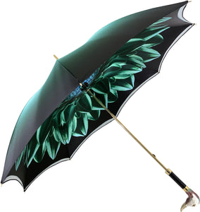 Beautiful Double Canopy Umbrella in a Luxurious Green Satin - il-marchesato