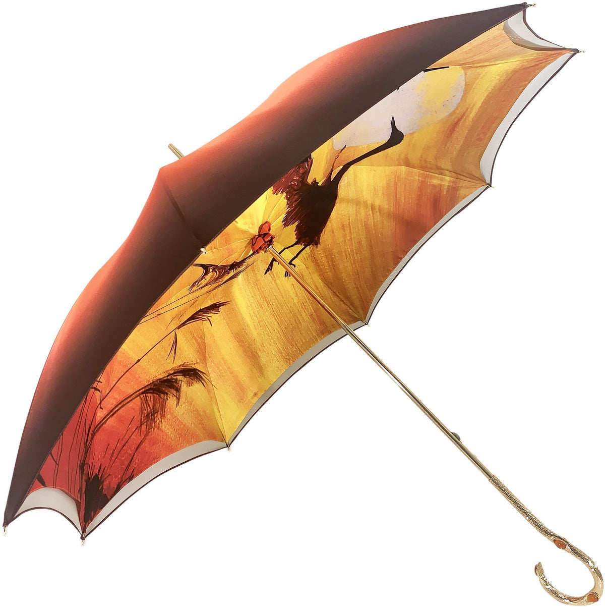 LUXURY ORANGE HERONS UMBRELLA DOUBLE CLOTH