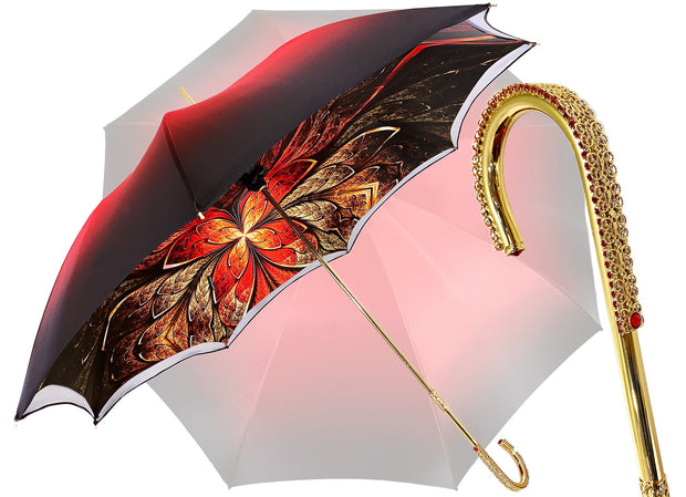 Red Double Canopy Luxury Ladies Umbrella