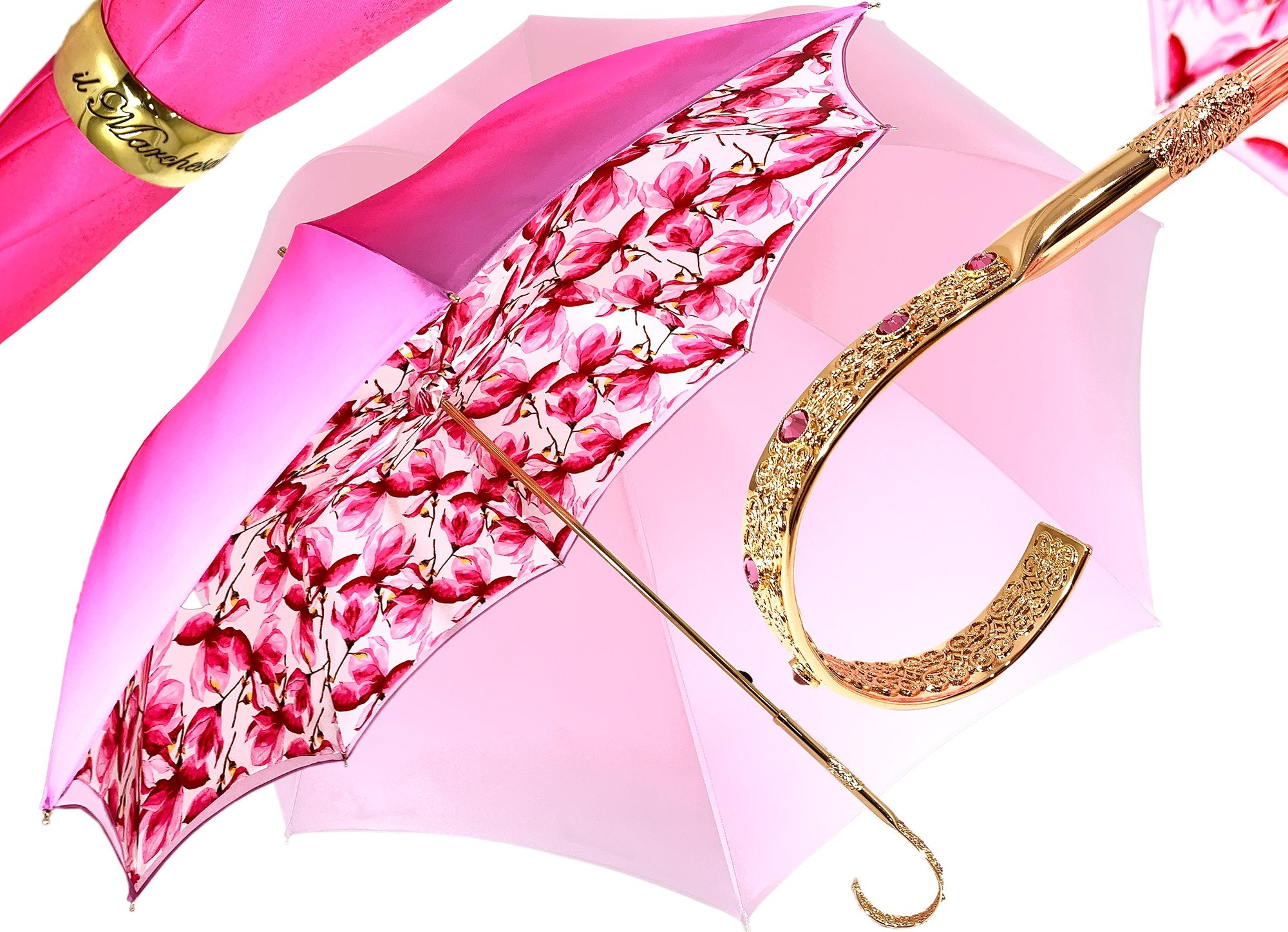 Lovely Shade Fuchsia/Pink Umbrella - Exclusive Flower Design - il-marchesato