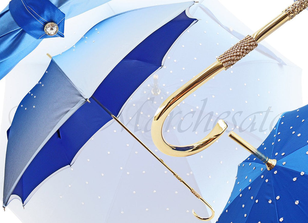 Blue Women's Umbrella - Swarovski Cristals - Double Cloth - il-marchesato