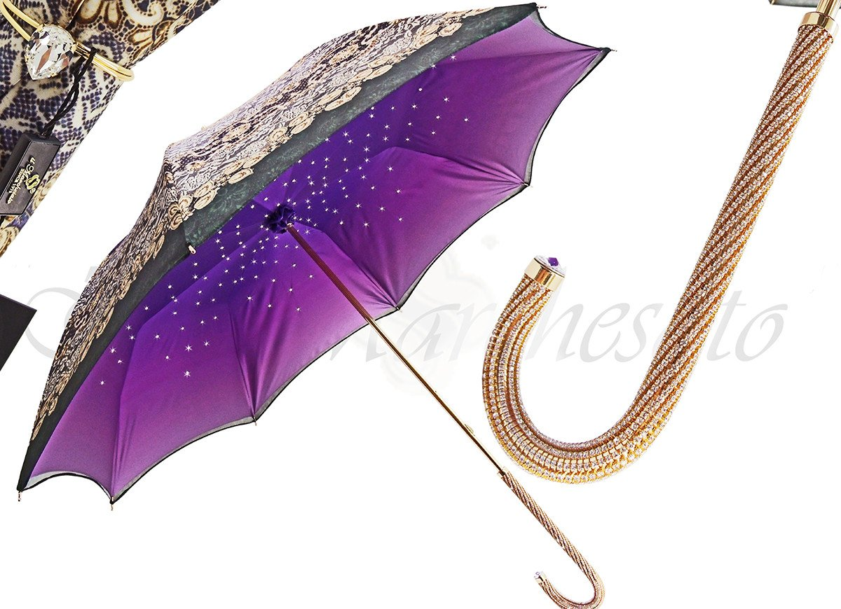 AWESOME LUXURIOUS WOMEN'S UMBRELLA BRASS CRISTALS HANDLED