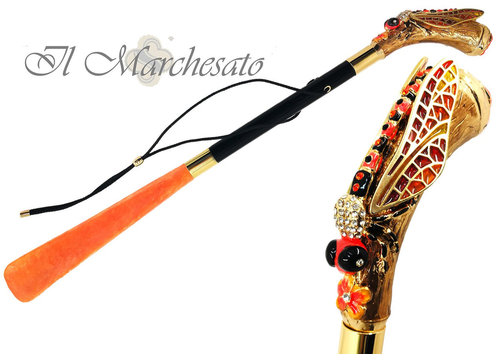Enamelled Dragonfly Shoehorn By il Marchesato - il-marchesato