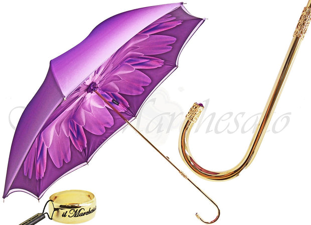 il Marchesato Purple Dahlia - Double Canopy - Luxury Ladies Umbrella - il-marchesato