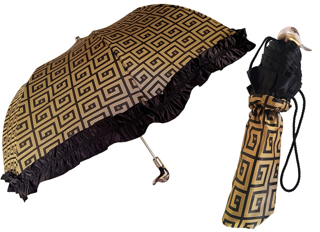 Automatic Folding Umbrella con Nero Ruffle - il-marchesato