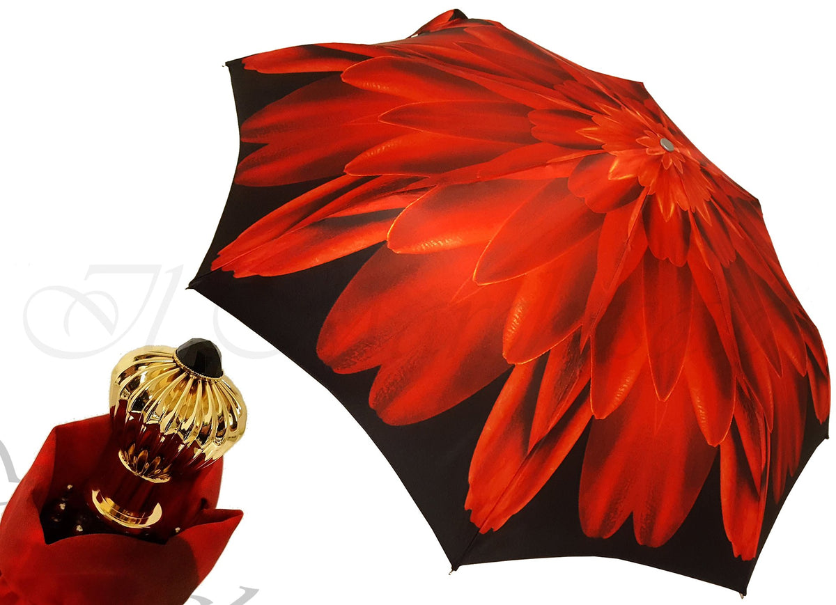 SMALL LIGHTWEIGHT RED DAHLIA UMBRELLAS