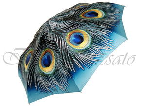 Beautiful Compact Umbrella With Printed Peacock Design - il-marchesato