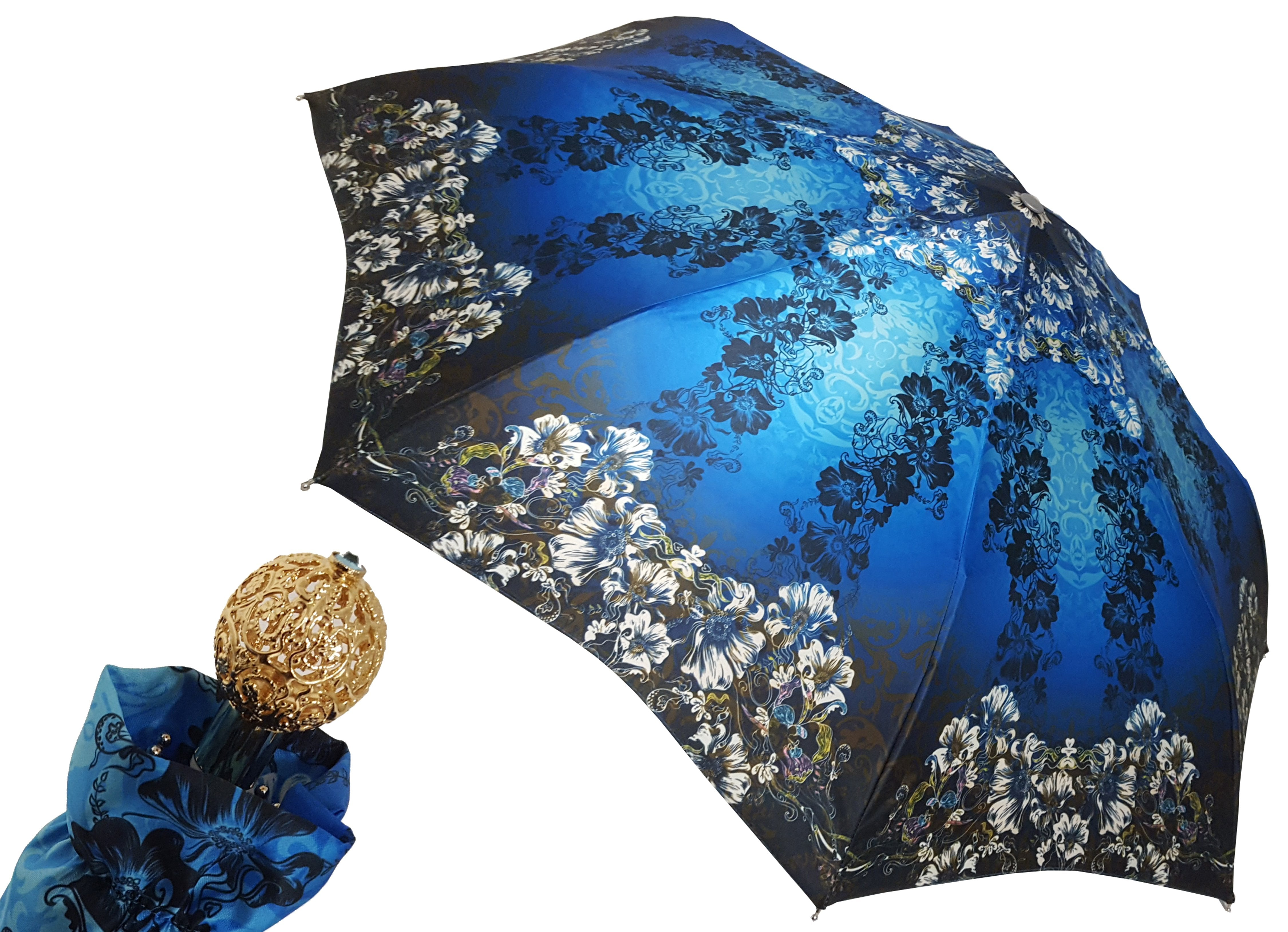 Awesome Blue Flowered Umbrella - il-marchesato