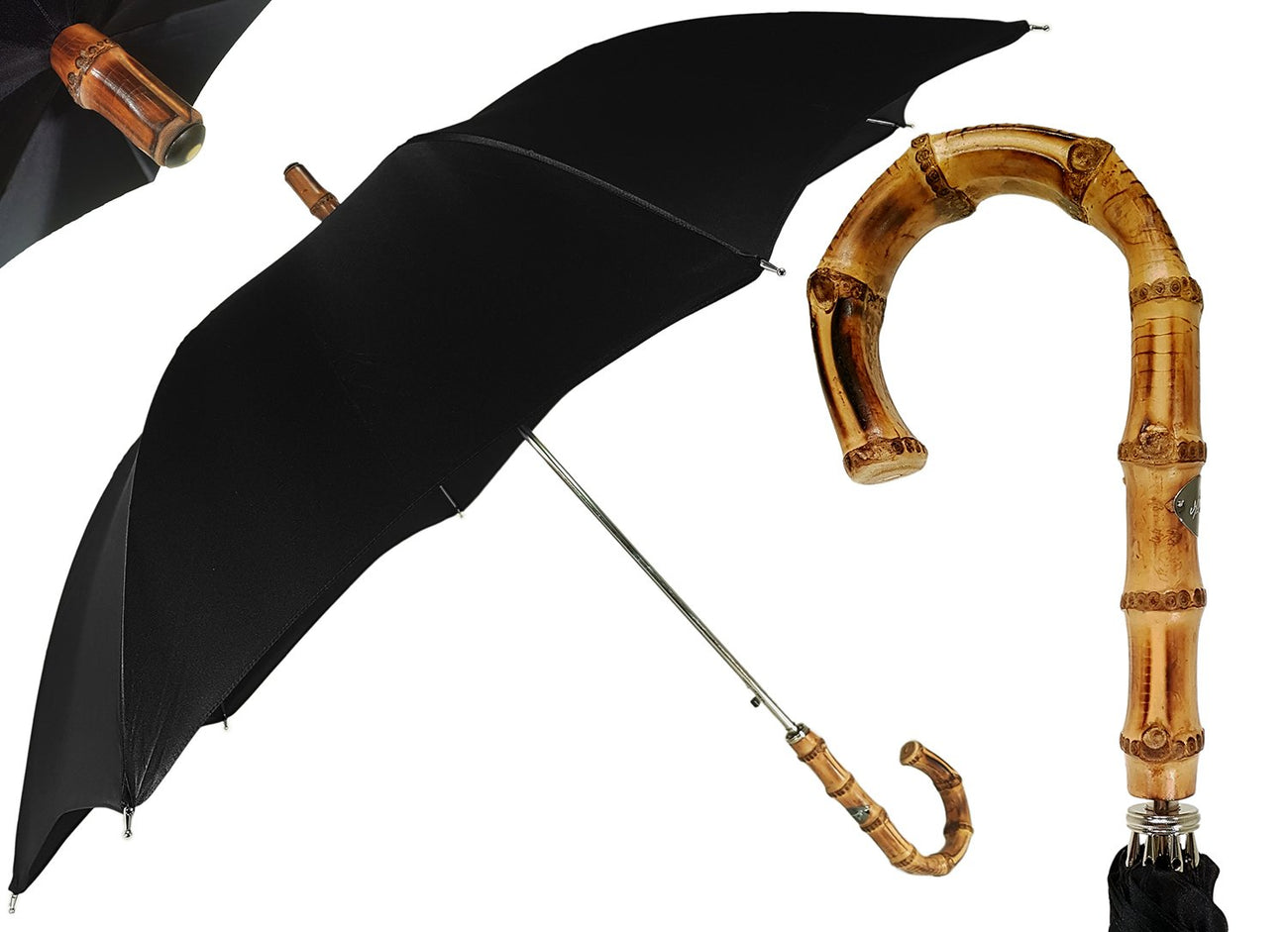 Classic Automatic Black Umbrella With Whanghee Handle - il-marchesato
