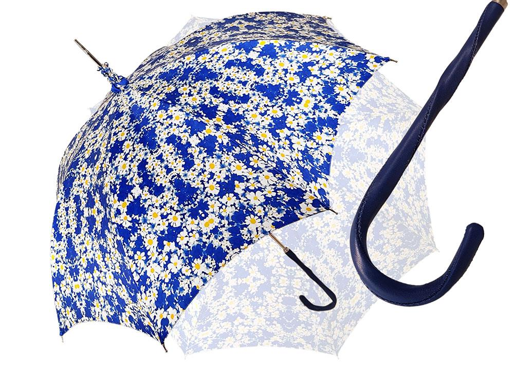 Flowered Marguerite Parasol - Blue Leather Handle - il-marchesato