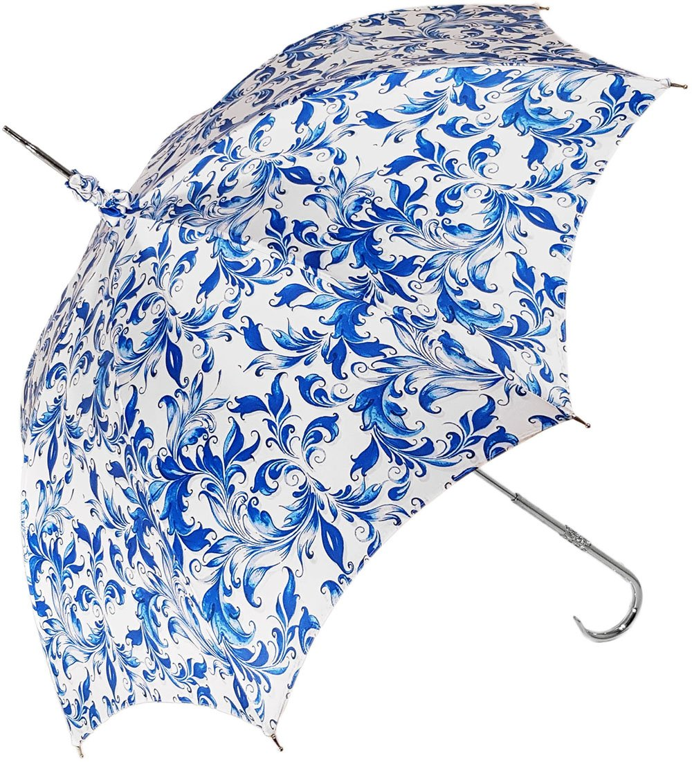 Elegant Parasol With Blue Design On White Background - il-marchesato