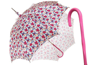 Pink Roses Parasol - Pink Leather Handle - il-marchesato