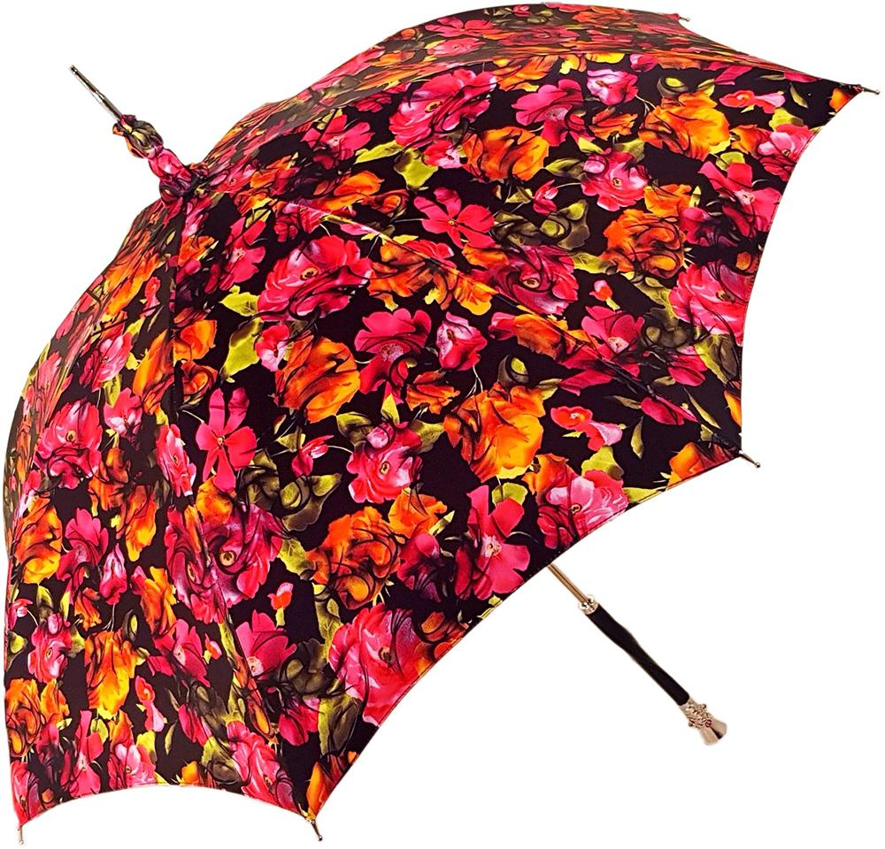 Parasol Multi-Color Floral Umbrella for Women  - Black Leather Handle - il-marchesato