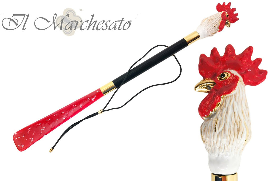 Enameled Rooster Shoehorn By il Marchesato - il-marchesato