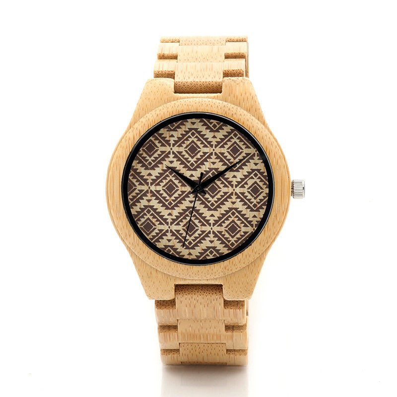 Women's Wooden Watch / Geo Pattern