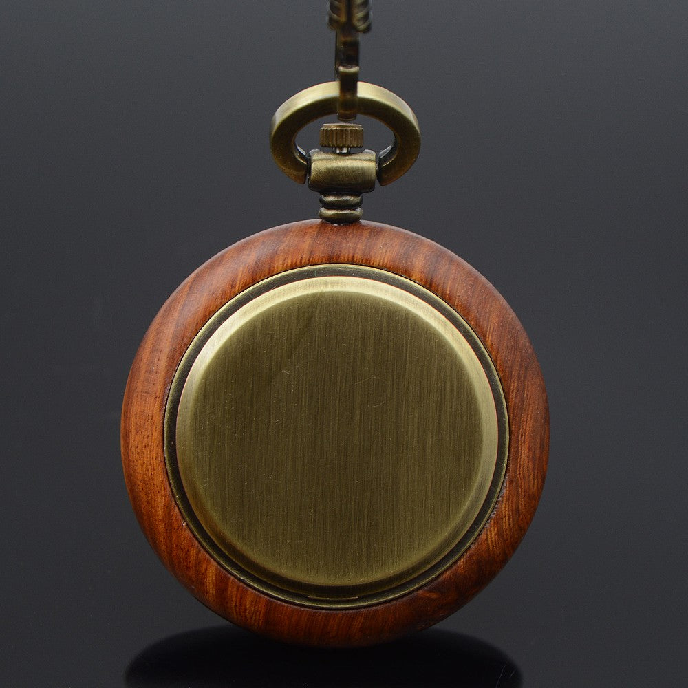 Bronze Tone Roman Number Wooden Pocket Watch