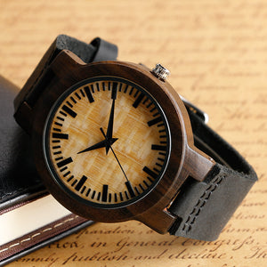 Men's Luxury Wooden Watch / Bamboo + Leather Strap (2 colors)