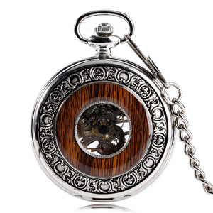 Wood Hollow Silver Pocket Watch