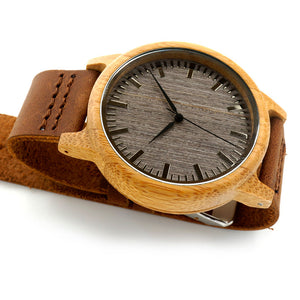 Men's Wooden Watch / Bamboo Black Dial